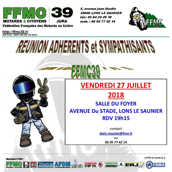 Réunion des adhérents et sympathisants FFMC39