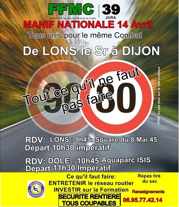 Le 14 avril, on manifeste contre le 80 km/h
