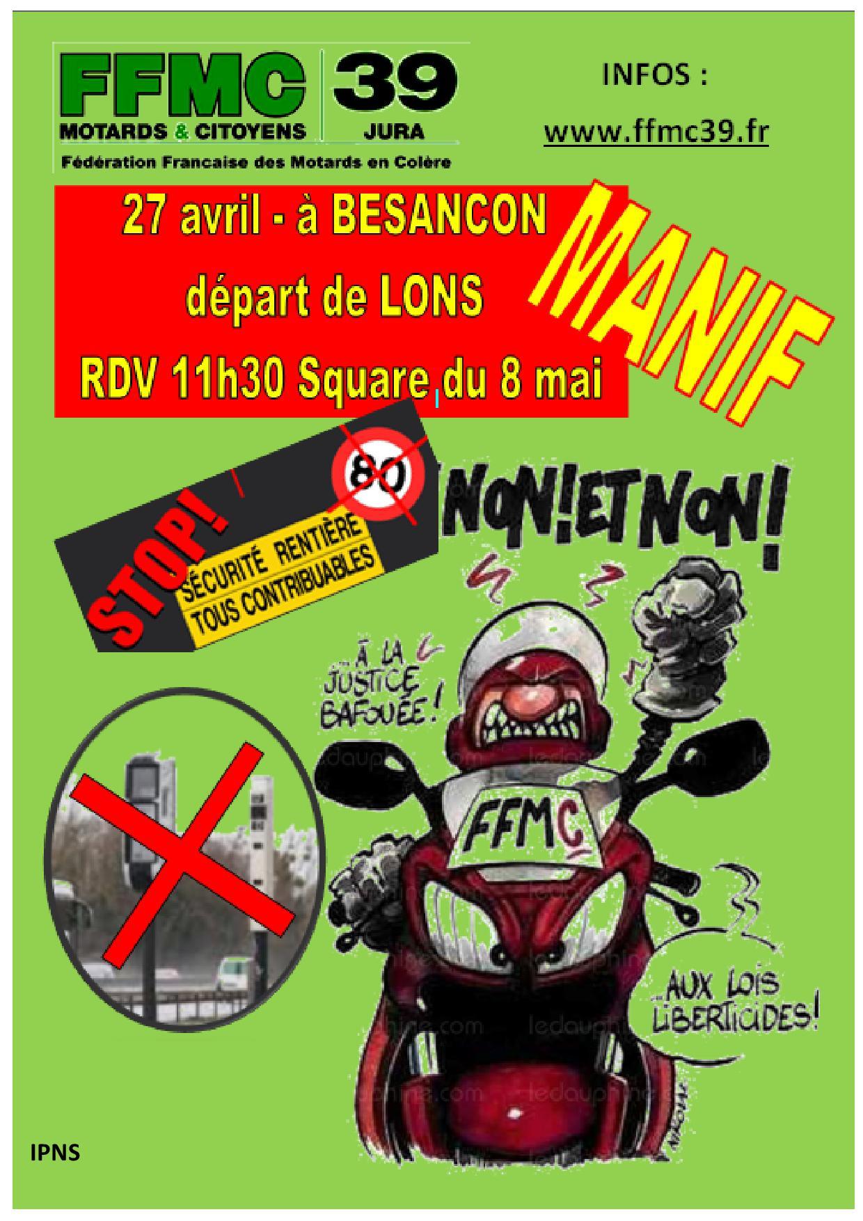 La FFMC 39 appelle les motards à manifester samedi 27 avril