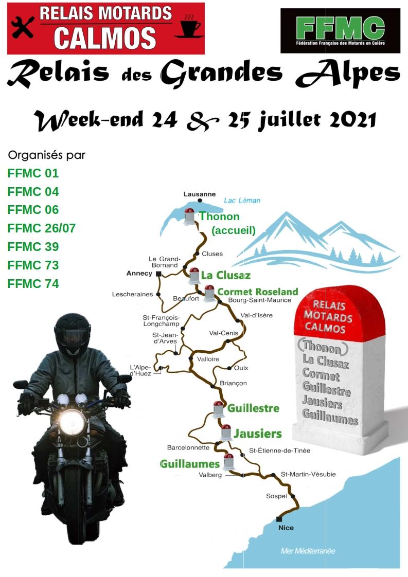 Les 24 et 25 juillet, la FFMC 39 mobilisée pour les relais motards calmos des Grandes Alpes